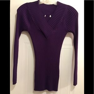 Women's Ribbed Long Sleeve Top Lg